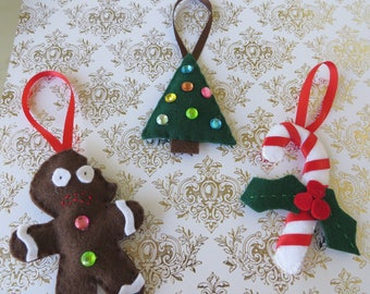 Set of Three Handsewn Felt Ornaments with Gingerbread Man Tree and Candy Cane