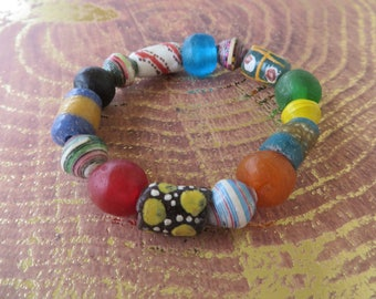 Colorful Stretch Bracelet With Ghana Recycled Glass And Uganda Paper Beads