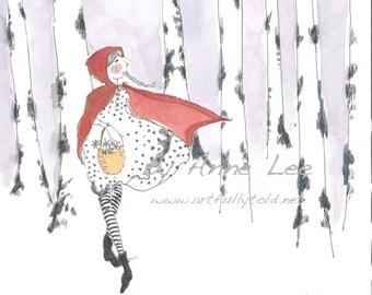 "Original watercolor painting, 9 x 12"" children's nursery decor wall art illustration, Little Red Riding Hood Fairy tale original painting"