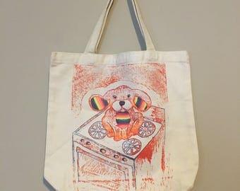 Rainbow Canvas Tote Bag, GiGiBunni on the Stove, Linoleum Block Print, Hand Printed