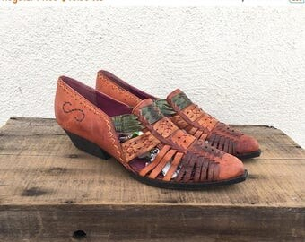 20% Off Sale 90s Ankle Chelsea Booties Huarache BrownWoven Leather Winklepickers Ladies Size 8