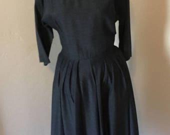 ON SALE NOW 40's Charcoal Dress / World War Ii Dress / Gray Shirt Dress / 1940s Dress / Size 6 Size 8