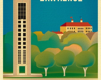Lawrence Kansas art, University of Kansas, Lawrence KS Art, Lawrence Print, KU memorial, Lawrence Skyline Print style E8-O-LAW