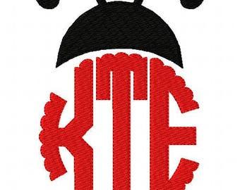 Ladybug // Circle // Scallop // Three Letter // Monogram Machine Embroidery Font Design Set // Joyful Stitches