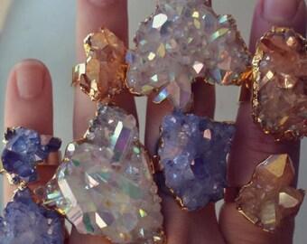 XMAS IN JULY Aqua Aura /// Crystal Quartz Cluster Ring /// Celestial Aura