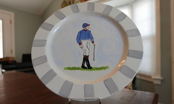 Kentucky Derby pottery, jockey platter, Horse racing platter, Derby platter, Horse racing theme party, horse owner gift, KY Derby
