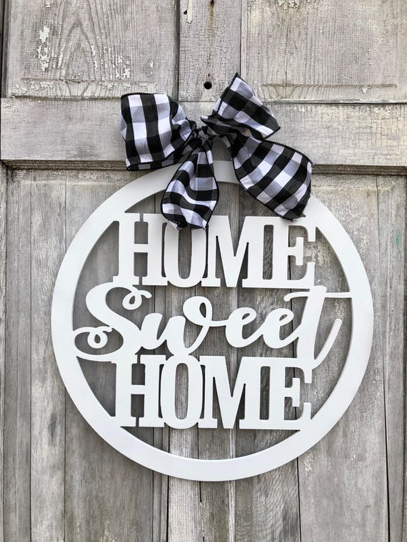 Home Sweet Home wood sign, hand painted door hanger, hand painted, Home Sweet Home sign,