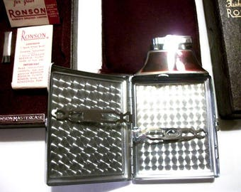 Vintage RONSON Mastercase Combination Lighter and Cigarette Case Original Box Tobacciana Collectibles