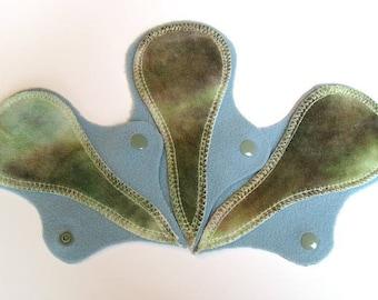 "THREE Thong Reusable Cloth Liners - ""moss"""