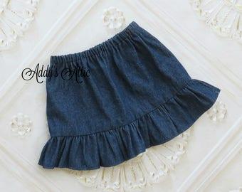 Girls Denim Skirt, Fall Skirt, Toddler Girls Skirt, Baby Skirt, Back to School Skirt