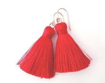 Red tassel earrings Boho tassel earrings Rose gold tassel earring Tassel earrings Red dangle earring Bridesmaid earrings Red wedding jewelry
