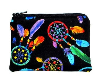 Rainbow Dream Catcher Coin Purse Small Zipper Pouch - Ready to Ship