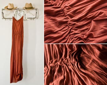 Organic Cotton Maxi Dress in Rust