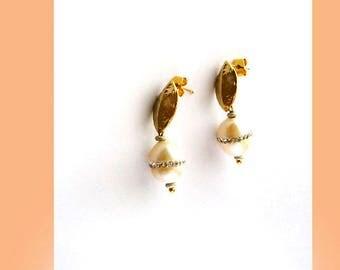 Modern White Freshwater Pearl CZ Gold Stud Earring