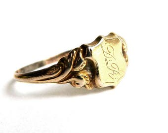 Antique Victorian Rose Gold Filled Shield Initial Signet Ring - Monogrammed - Letters D R - Size 8 - Delicately Sophisticated