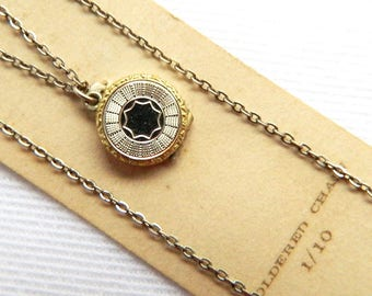 """Vintage 10K Gold Filled Baby Locket Pendant Necklace - Two-Toned Small Round Locket - 11"""" Chain - Original Display Card NOS - Signed GLP CO"""