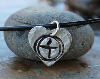 Flame in the Chalice Heart Necklace - Unitarian Universalist handmade fine silver charm - black leather cord- free shipping USA