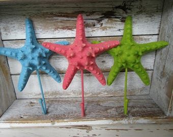 Set of 3 Starfish Wall Hooks in Blue Coral Pink and Green Beach House Sea Oceanside Cottage Hangers Ready to Ship H-11