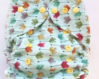 diaper cover, cloth diaper cover, one size, AI2 Optional, All-in-Two optional, arrows,  rainbow