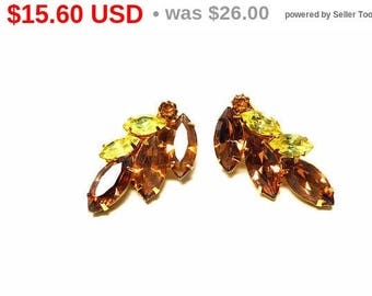 Summer Sizzler Sale Brown & Yellow Rhinestone Clip on Earrings  - Prong Set Marquis Faceted Crystal Glass Stones - Leaf Shaped Gold Tone ...
