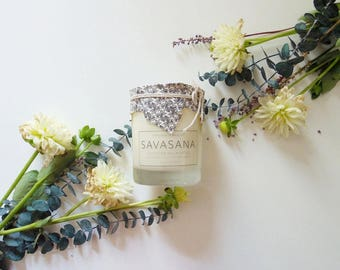SAVASANA Yoga Candle - Lavender Eucalyptus - 14 oz - all natural, eco-friendly 100% soy wax candle
