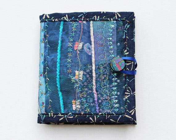 Dragonfly Needle Book - Gift for a crafter - Indigo blue needlework case with floral embroidery stitching. Sewing organiser, needle case