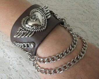 Leather Bracelet, medieval jewelry renaissance jewelry gothic jewelry steampunk jewelry rockabilly bracelet pagan edwardian gothic bracelet