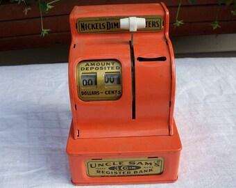 Vintage Adorable Uncle Sam's 3 Coin Register Toy Bank Orange