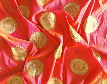banaras fabric, brocade by the yard, sari blouse fabric, indian brocade fabric, gold brocade, banarasi brocade - 1 yard - br164