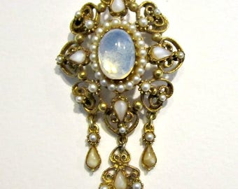 Vintage Florenza Brooch Dangling Faux Opal Glass Moonstone Designer Pin Jewelry Gift for Her for Mom Under 25