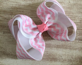 Extra Large Pink Chevron Print Spring Easter Hair Bow