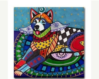 45% Off Today- Akita Art Tile Ceramic Coaster Mexican Folk Art Print of painting by Heather Galler (HG110)