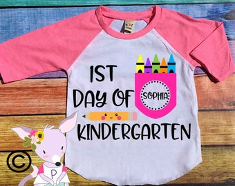 1ST day of Kindergarten 1st grade Preschool Shirt Custom Back to School Shirt with name preschool Kindergarten back to school shirt