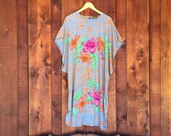 Vintage Indonesian Batik Dress / Cotton Flower Print Dress / Oversized Swimsuit Coverup / Loungewear dress