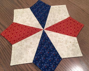 Patriotic Americana Quilted Red Blue Cream Star Table Topper