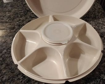 1980s Tupperware 7 Compartment Relish Tray with Domed Lid / Almond Hard Plastic Tupperware Serving Center