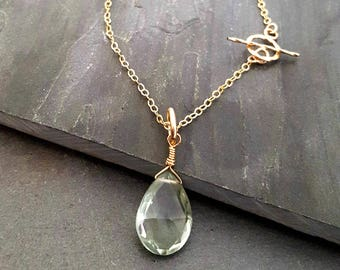 Green Amethyst Stone Necklace, Single Stone Pendant, Gemstone Pendant, Prasiolite Stone, Teardrop Stone, Briolette, 14k Gold Filled Chain