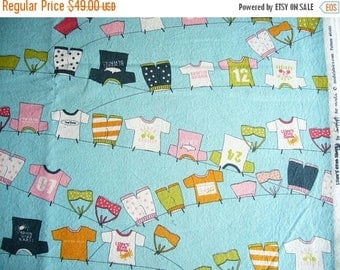 SUMMER SALE Lucy's Crab Shack Clothesline cotton quilting fabric - OOP - almost three yards - aqua orange green pink black white - rare, Htf