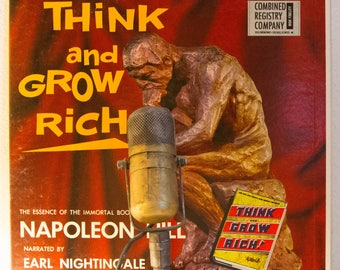 """ON SALE Money Finance Dollars w/Earl Nightingale Vinyl Record LP 1960s Philosophy Motivation Mental Attitude Snake Oil """"Think and Grow Rich"""""""