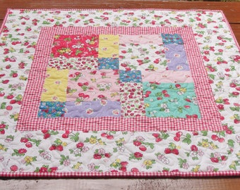 Quilted Table Topper, Patchwork Table Topper, Floral Table Topper, Kitchen Table Topper, Country Table Decor, Free USA Shipping