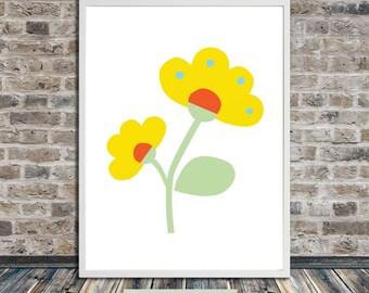 Scandinavian flower print II, geometric mid century print, Minimalistic poster, Printable Art, Instant Digital Download