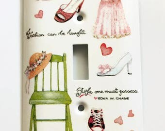 Fashion and Style Light Switch Cover, Fashion Can Be Bought, Style One Must Possess, Shoes, Dress, Hearts, Hat