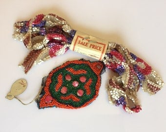 Unused vintage to antique 1920s flapper beaded haberdashery dress trim and decoration