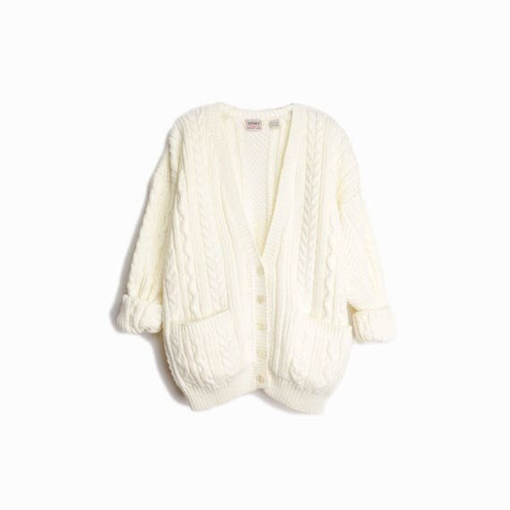 Vintage Ivory Cable Knit Cardigan / Cream Fisherman Cardigan / Slouchy Sweater - women's large