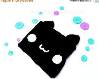 ON SALE - Black Cat Zipper Pouch - Pencil Pouch, Pencil Case, School Supplies, Make Up Bag, 3DS Case, Phone Case, Coin Purse