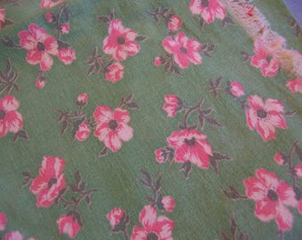 vintage green with pink flowers cotton fabric