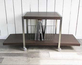 1970s Stereo & Record Album Rack - Rolling Stereo Cart, Storage Cart, Bar Cart