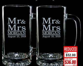 MR & MRS Anniversary BEER Mug Set, 2 Beer Mugs Wedding Anniversary Newlyweds Shower Honeymoon Housewarming Gifts for Couples Ships to Canada