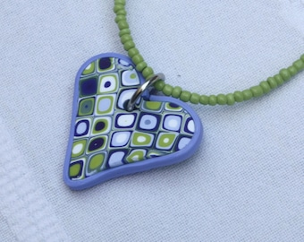 Heart pendant necklace in green and purple, polymer clay millefiori, squares