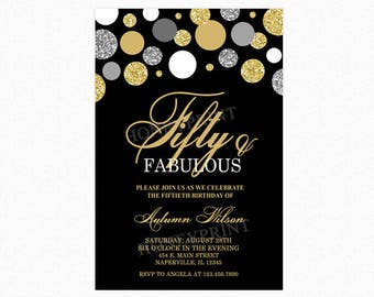 Fifty and Fabulous Birthday Party Invitation, 50th Birthday Party Invitation, Polka Dots, Glitter, Personalized, Printable or Printed